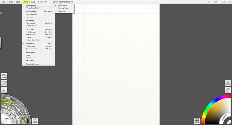 ArtRage 5 View menu screenshot