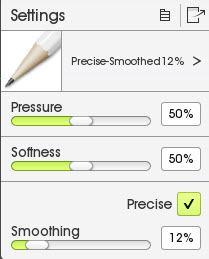 Pencil Settings Menu in ArtRage 5