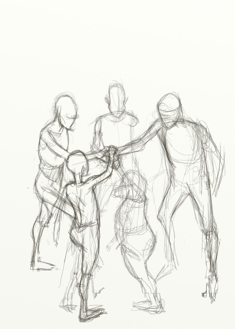 Pencil sketch of five figures standing in a circle with one hand in the middle.