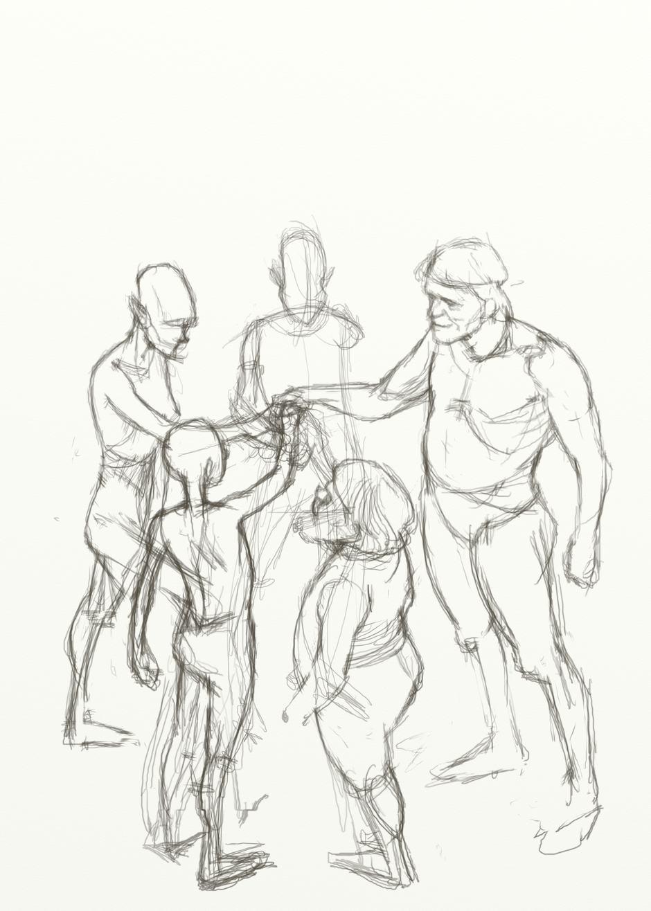 Refined pencil sketch of five figures