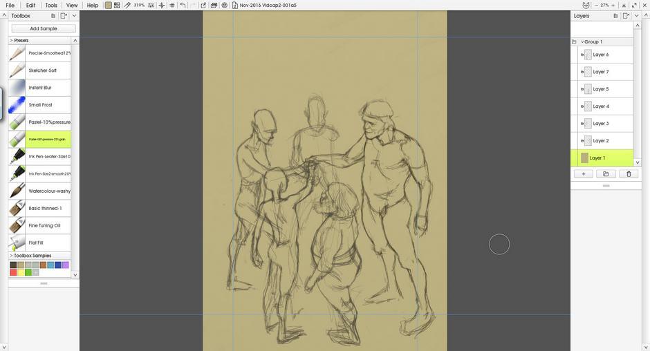 Sketch with medium brown background screenshot ArtRage 5