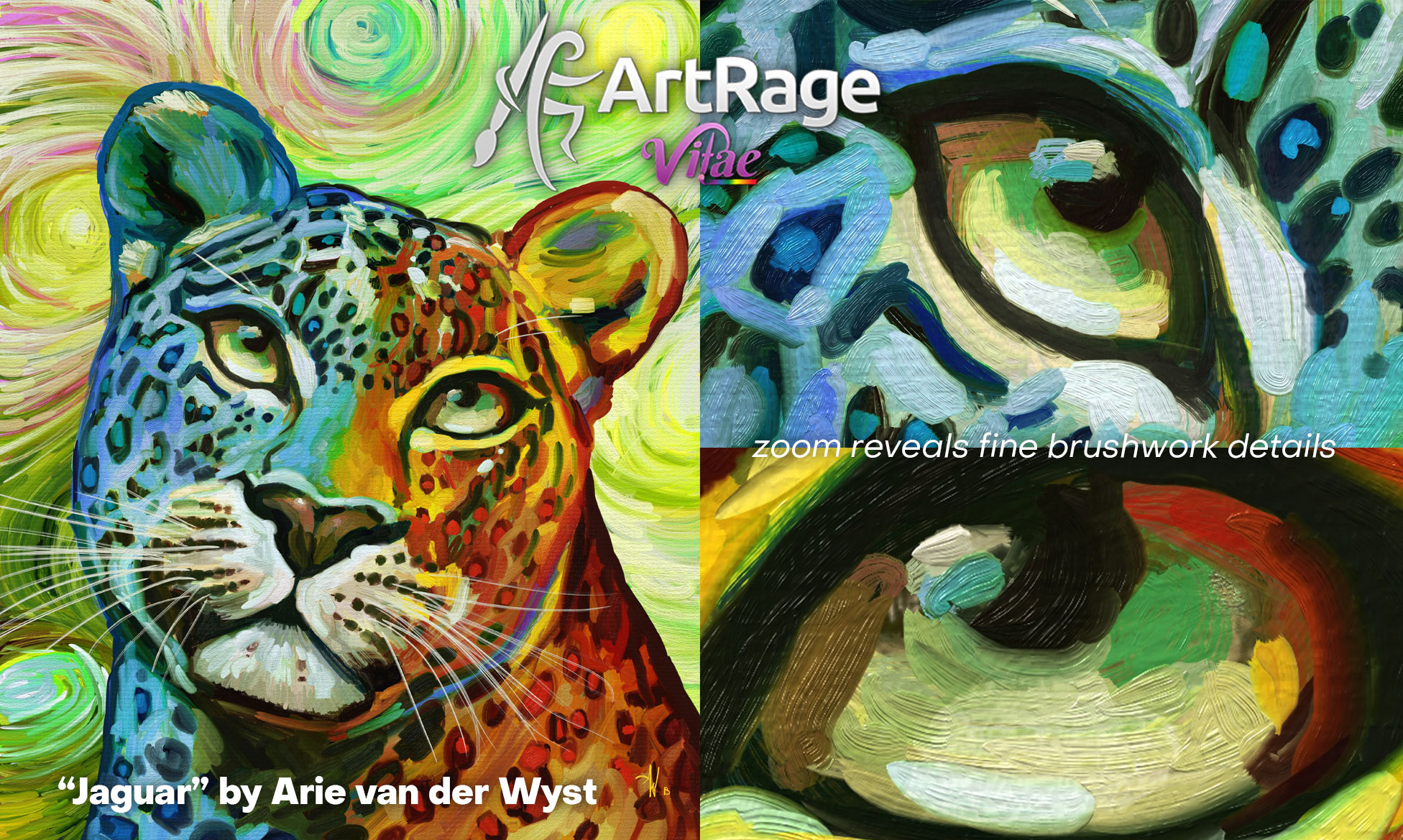 Jaguar painting by Arie van der Wyst with zoom to reveal details of brushstrokes