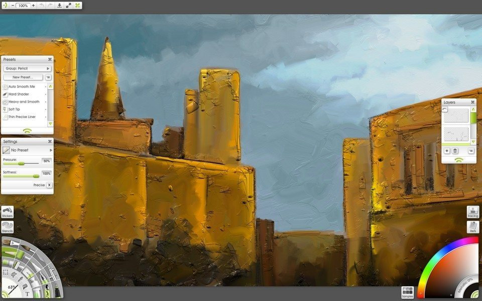 ArtRage Lite oil and palette knife cityscape painting tutorial
