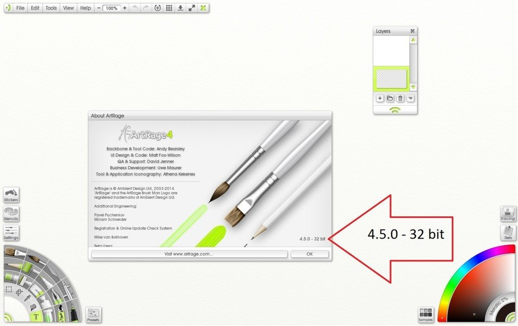 How can I tell if ArtRage 4 5 is in 64 bit mode? - ArtRage