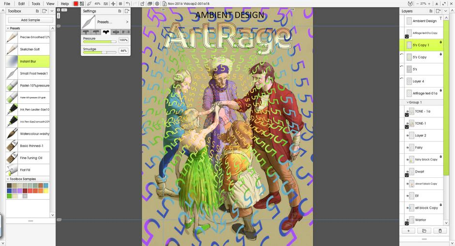 Screenshot of ArtRage 5 with fantasy figures and a rainbow coloured overlay of 5s
