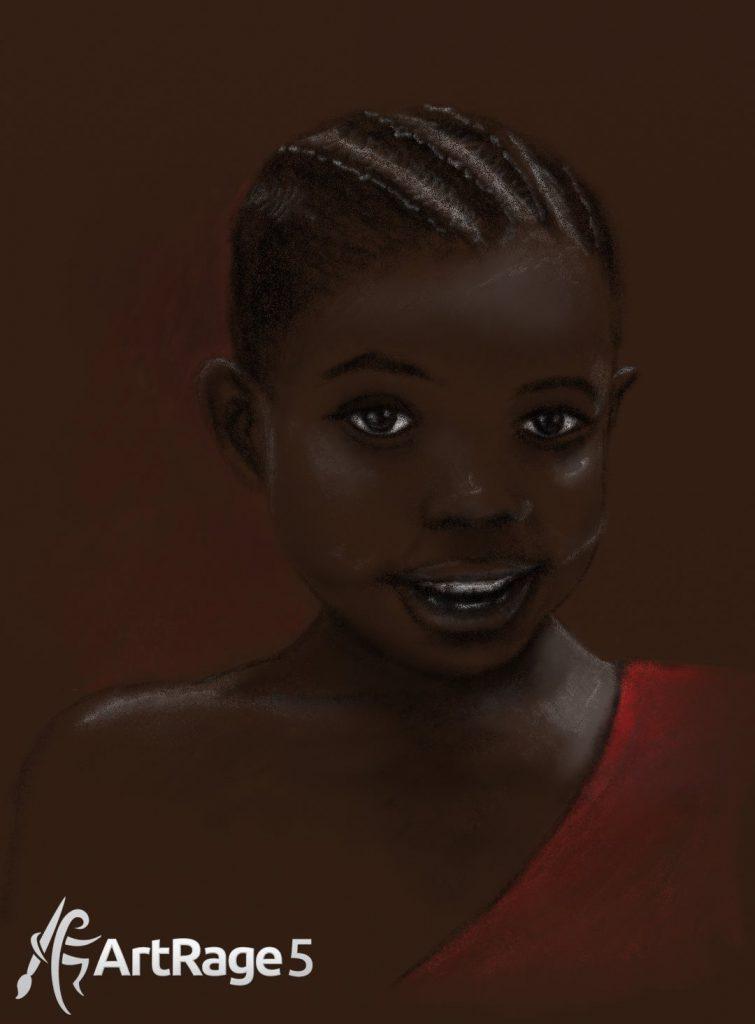Африканская девушка портрет в карандаше artrage 5
