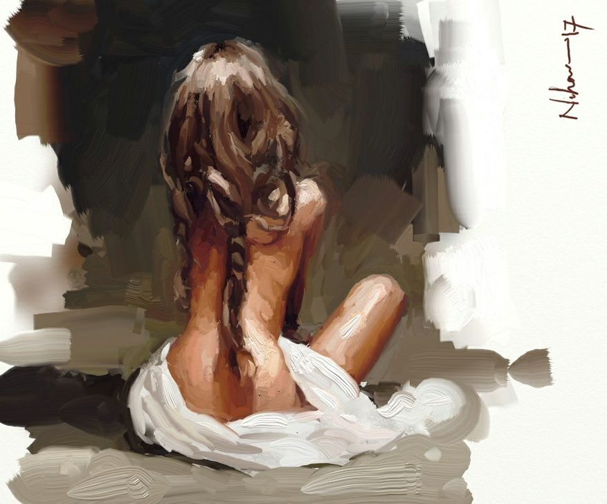 ArtRage 1 Figure Study of a seated girl by Nihar Das