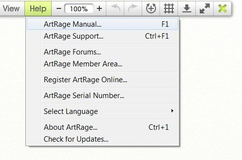 How to open the ArtRage manual from ArtRage 4