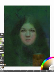 Final version of the Witches of Salem portrait in ArtRage for iOS before printing