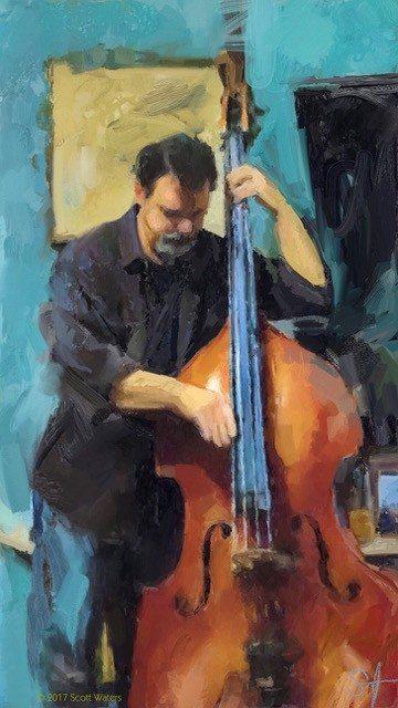Brett On Bass 72 ArtRage iPad artist Dean Scott Waters