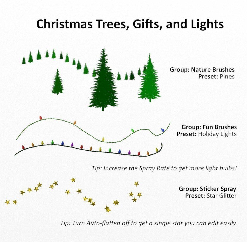 Christmas effects sticker spray presets artrage