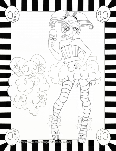 CottonCandySkeleton ArtRage Line Art by Paige Fowler SourCandy Arts
