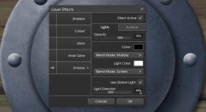 Emboss1 layer effects menu metallic ArtRage 5 tutorial by Boxy Sav Scatola