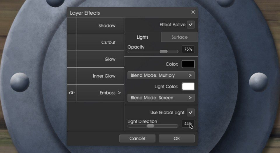 Emboss1 layer effects menu metallic ArtRage 5 tutorial by Boxy Sav Scatola