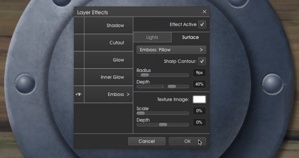 Emboss2 layer effects menu metallic ArtRage 5 tutorial by Boxy Sav Scatola