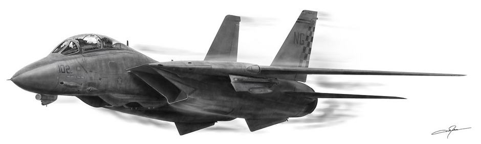 """High Speed Pass ofHigh Speed Pass of the F-14 Tomcat.  Dale Jackson Strato Art ArtRage Artist the F-14 Tomcat. """"The F-14 Tomcat is a supersonic, twinjet, two-seat, variable-sweep wing fighter aircraft. The F-14 was the first of the American teen-series fighters which were designed incorporating the experience of air combat against MiG fighters during the Vietnam War. The F-14 first flew in December 1970 and made its first deployment in 1974 with the U.S. Navy aboard USS Enterprise (CVN-65), replacing the McDonnell Douglas F-4 Phantom II. The F-14 served as the U.S. Navy's primary maritime air superiority fighter, fleet defense interceptor and tactical reconnaissance platform. In the 1990s, it added the Low Altitude Navigation and Targeting Infrared for Night (LANTIRN) pod system and began performing precision ground-attack missions. The Tomcat was retired from the U.S. Navy's active fleet on 22 September 2006, having been supplanted by the Boeing F/A-18E/F Super Hornet"""" (wiki) Inspired by the public domain U.S. Navy photo by Photographer's Mate 3rd Class Jayme Pastoric."""