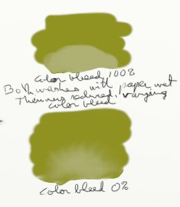 Figure 5 [Top] Color Bleed 100%. Both washes with Paper Wet on, Thinners reduced, varying Color Bleed [Bottom] Color Bleed 0%