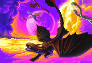 High-Flying Dragons of Berk (personal piece for niece) by Jon Davies