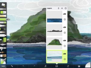 The Layers menu in ArtRage for iPad can be access from the Layers shortcut in the menu bar