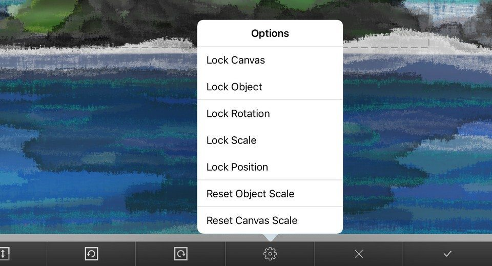 ArtRage for iPad includes the option to lock different aspects of your painting while Transforming.