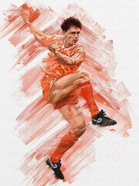 L'Art Du Foot Exhibition Mundial Scotts Van Basten ArtRage artist Phil Galloway small