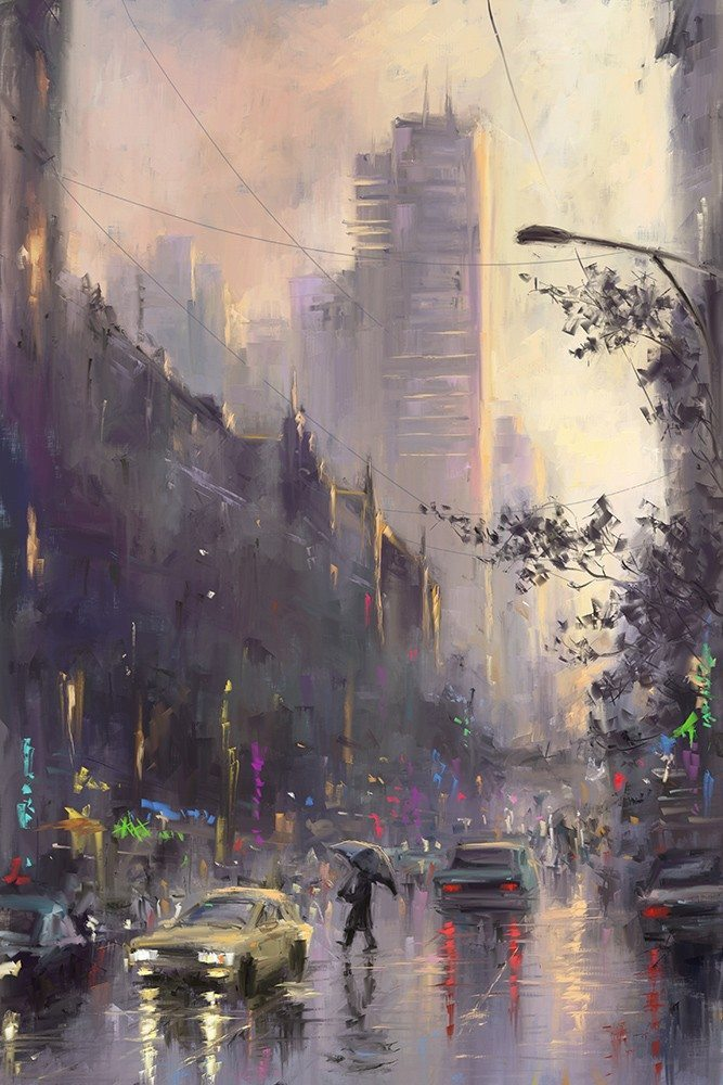 Mikhail Karetin ArtRage android Rainy City (I used amazing watercolors by Joseph Zbukvic as reference and inspiration)