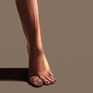 Finished digital oil painting of a foot in ArtRage