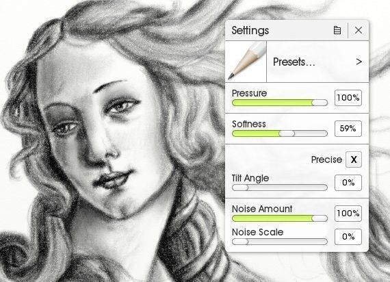 Настройки карандаша в ArtRage 5