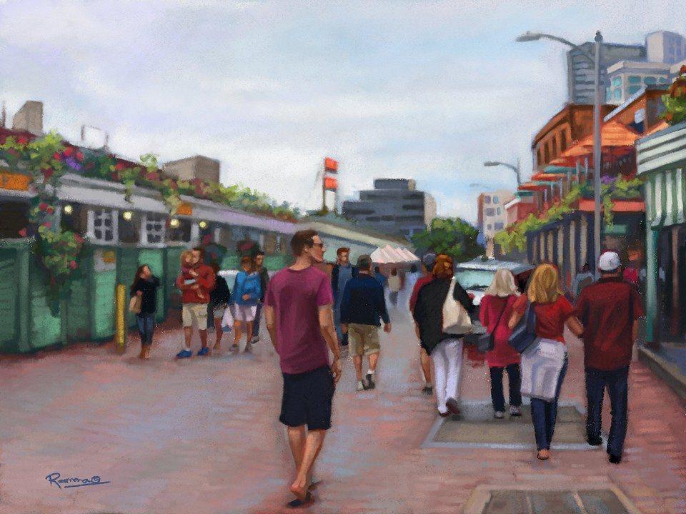 Pike Place Market artrage art by Ramona MacDonald