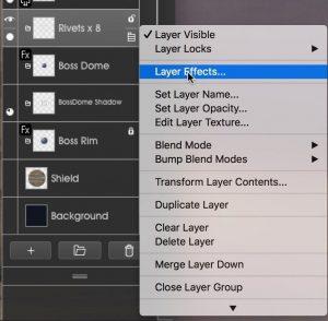 Rivets3 layer menu metallic ArtRage 5 tutorial by Boxy Sav Scatola