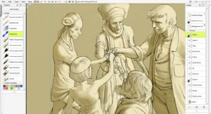 Closeup on five figures with monochrome shading in ArtRage 5 Docking mode with toolbox presets and layers menu visible at the sides.