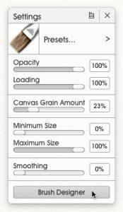 Setting-1 ArtRage 5 Custom Brush tutorial by Sav Scatola