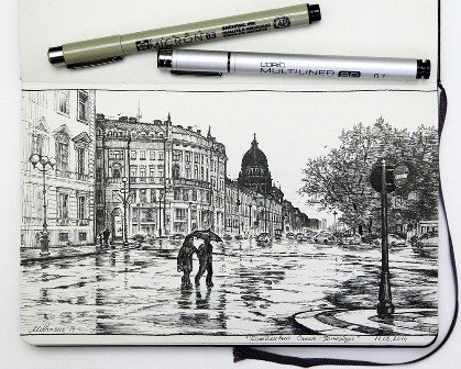 St Petersburg Russia traditional pen and ink drawing by Mikhail Karetin