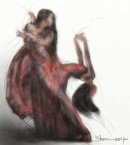 ArtRage (Force) gestural painting of the movement of a woman in a sari dancing by Nihar Das