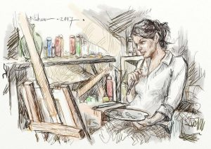 ArtRage (Illustration) painting of a woman at an easel by Nihar Das