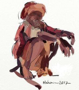 ArtRage (Quick sketch) loos sketch of a squatting figure by Nihar Das