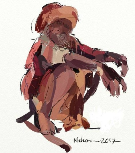 ArtRage (Quick sketch) loos sketch of a squatting figure by Nihar Das