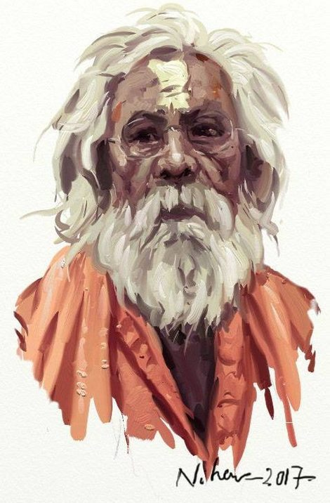 ArtRage (strokes) portrait of a man with a white beard by Nihar Das