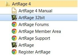 Shortcut to ArtRage 32 Bit in the Start Menu