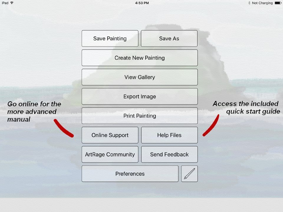 artrage for ipad menu