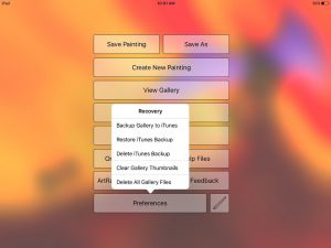 artrage ipad preferences backup menu