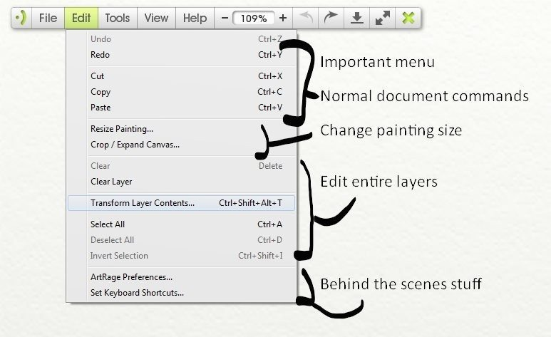 Edit menu artrage lite