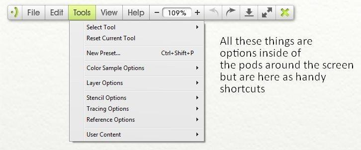 Tools menu artrage lite