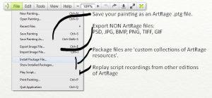 file menu artrage lite