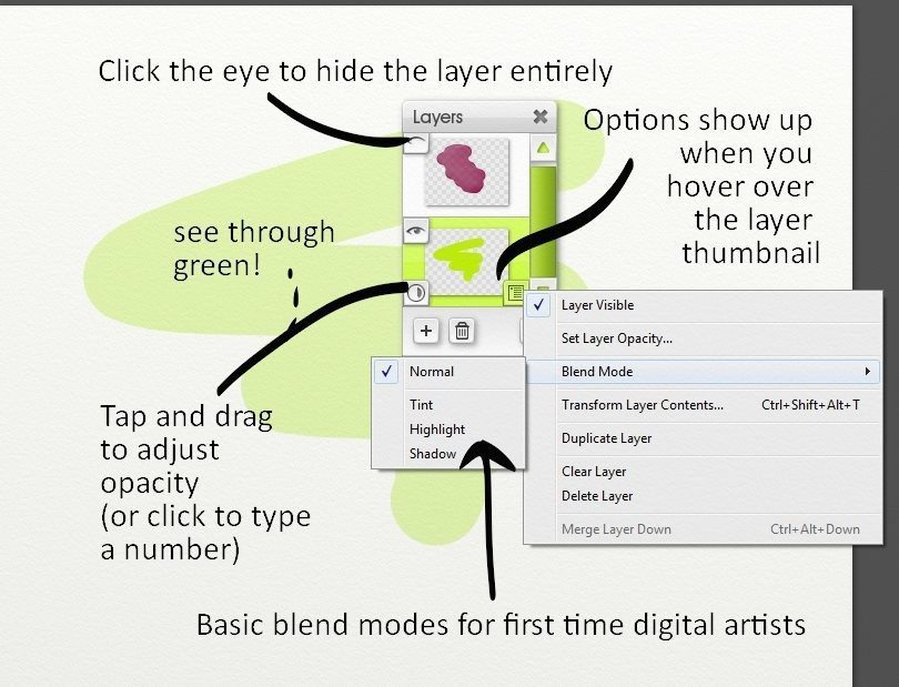 The Layers menu in ArtRage Lite