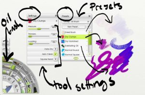 Tool settings and presets in artrage lite