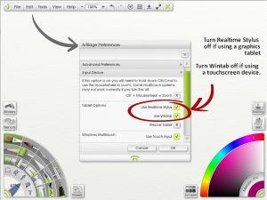 artrage stylus input preferences