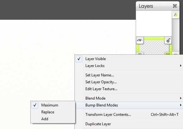 Bump Blend Mode artrage layers menu