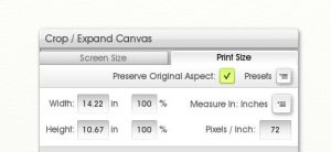 The Crop/Expand Canvas menu in ArtRage (Print Size tab)