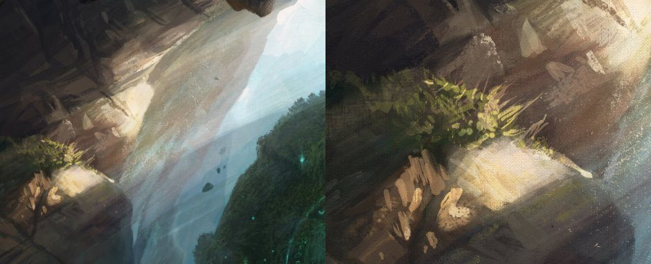 Closeups on brush strokes and lighting used for plant growing on cliff face
